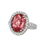 Gorgeous Modern 18K White Gold Diamond & Purple-Red Tourmaline Womens Ring - New