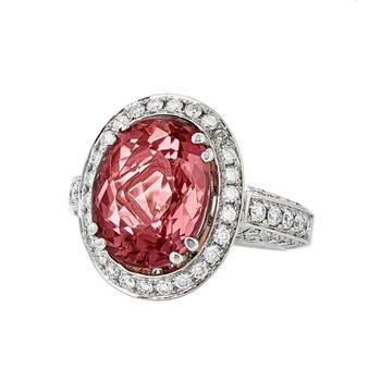Gorgeous Modern 18K White Gold Diamond & Purple-Red Tourmaline Womens Ring - New