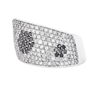 Elegant Modern 14K White Gold Black Sparkling Diamond Women's Ring - Brand New