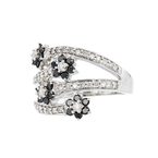 Exquisite 14K White Gold Black & White Diamond Women's Ring 1.04CTW - Brand New