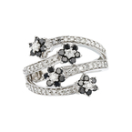 Exquisite 14K White Gold Black & White Diamond Women's Ring 1.04CTW - Brand New