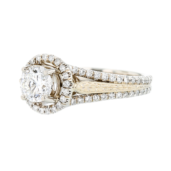 Charming 14K Two Tone Yellow & White Gold Women's Diamond Ring - 1.44 CTW - New