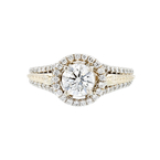 Charming 14K Two Tone Yellow & White Gold Women's Diamond Ring - 1.44 CTW - New