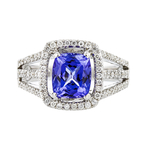 Fancy 18K White Gold Diamond & Tanzanite Women's Ring - 1.05CTW - Brand New