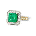 Ladies Exquisite Modern 18K Two-Tone Gold Emerald 2.93CT & Diamond 0.94CTW Ring