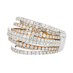 Unique 18K Two Tone White & Rose Gold Women's Diamond Ring - 3.44CTW - Brand New