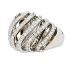 Stylish Modern 14K White Gold Women's Unique Diamond Ring 1.00CTW - Brand New
