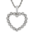Modern Ladies 14K White Gold Diamond Heart-Shaped Pendant & Necklace Set - New