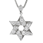 Stylish Modern 14K White Gold Star-Shaped Diamond Pendant & Necklace Set 2.99CTW