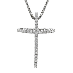 Stylish Modern 14K White Gold Diamond Cross Pendant & Necklace Set - Brand New