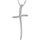 Stylish Modern 14K White Gold Diamond Cross Pendant & Chain Necklace Set - New