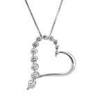 Modern Ladies 14K White Gold Heart-Shaped Diamond Pendant & Necklace Set - New