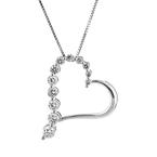 Modern Ladies 14K White Gold Heart-Shaped Diamond Pendant & Necklace Set - New