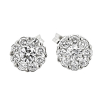 Exquisite Modern 14K White Gold Diamond Ladies Earrings - Brand New