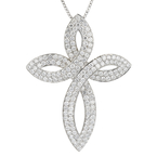 Exquisite Modern 18K White Gold Diamond Cross Pendant & Necklace Set - 4.27CTW