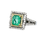 Gorgeous 18K White Gold Women's White/Yellow Diamond & Emerald Ring - Brand New