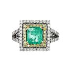 Gorgeous 18K White Gold Women's White/Yellow Diamond & Emerald Ring - Brand New