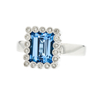 Charming 14K White Gold Women's Beautiful Diamond & Topaz Ring - Brand New