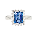 Charming 14K White Gold Women's Beautiful Diamond & Topaz Ring - Brand New