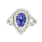 Beautiful & Unique 18K White Gold Women's Diamond & Tanzanite Ring - Brand New