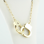 Designer Necklace Or Bracelet In 14K Yellow Gold Working Handcuff Love Jewelry