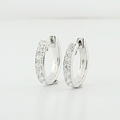 Gorgeous 18K Fine White Gold Ladies Hoop Earrings 1.60 CTW Of Sparkling Diamonds