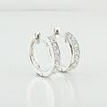 Gorgeous 18K Fine White Gold Ladies Hoop Earrings 1.60 CTW Of Sparkling Diamonds