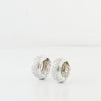 Half Carat Three Row Diamond Huggie 14K White Gold Ladies Jewelry Hoop Earrings