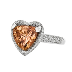 18K White Gold Heart-Shaped Tourmaline & Diamond Women's Ring 1.28CT - New
