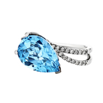 Exquisite Modern 18K White Gold Diamond & Blue Topaz Women's Ring - Brand New