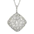 Gorgeous Modern Ladies 18K White Gold Diamond Pendant & Necklace Set - 2.71CTW