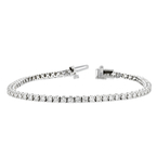 Stunning Modern 14K White Gold Ladies Diamond Tennis Bracelet - 3.37CTW - New