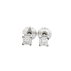 Exquisite 14K White Gold Sparkling Diamond Stud Earrings - Brand New