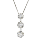 Elegant Modern Ladies 14K White Gold Diamond Pendant & Chain Necklace Set 1.25CTW