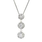 Elegant Modern Ladies 14K White Gold Diamond Pendant & Chain Necklace Set 1.25CTW