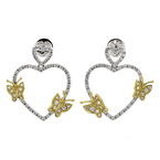 Fancy Heart-Shaped 18K White & Yellow Gold Diamond Butterflies Earrings - New