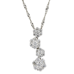 Gorgeous Modern Ladies 14K White Gold Diamond Curved Pendant & Necklace Set NEW