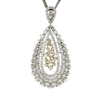 Modern Ladies 14K Two-Tone Gold Diamond Floral Teardrop Pendant & Necklace Set