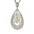 Modern Ladies 14K Two-Tone Gold Diamond Floral Teardrop Pendant & Necklace Set
