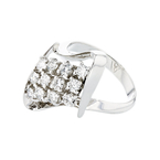 Elegant 14K White Gold Brilliant Cut Diamond Modern Ladies Ring - Brand New