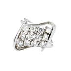 Elegant 14K White Gold Brilliant Cut Diamond Modern Ladies Ring - Brand New