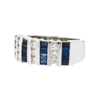 Stylish Modern 14K White Gold Diamond & Sapphire Ladies Ring - Brand New