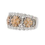 Exquisite 14K White & Yellow Gold Flower Shaped Sparkling Diamond Women's Ring - New