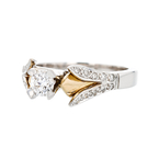 Gorgeous Two-Tone 18K White & Yellow Gold Women's Diamond Ring - Brand New