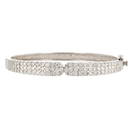 Exquisite Ladies 14K White Gold Diamond Bangle Bracelet - 4.21CTW - Brand New