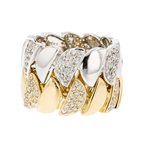 Exquisite 18K White & Yellow Gold Women's Diamond Double Ring - 1.63CTW - New