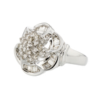 14K White Gold Flower Shaped Diamond Women's Ring - Brand New