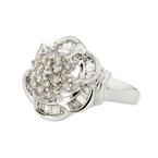 14K White Gold Flower Shaped Diamond Women's Ring - Brand New