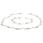 Exquisite 18K White Gold Women's Diamond Bracelet & Necklace Set - Brand New