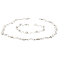 Exquisite 18K White Gold Women's Diamond Bracelet & Necklace Set - Brand New